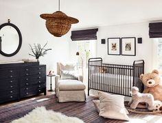 The Spanish-colonial retreat of a creative couple in LA a crib and big armchair in a nursery, modern, minimal, neutral colors, layered rugs - Colorful Baby Rooms Baby Room Decor, Nursery Room, Baby Rooms, Room Baby, Bedroom Decor, Architectural Digest, Spanish Colonial, Spanish Style, Spanish Revival