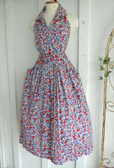 Vintage Halter Dress Full Skirt Rockabily by SweetRepeatVintage, $49.00