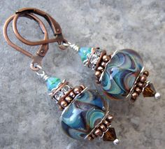 Psychedelics Subdued Artisan Boro Lampwork Sterling and by cinnie, $25.00