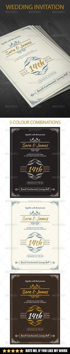 Vintage Wedding Invitation - Cards & Invites Print Templates
