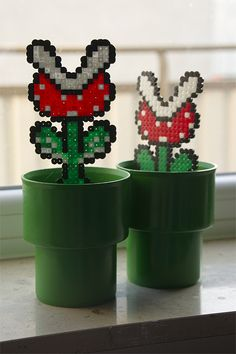 Plant decor of Mario Bros.... @Alissa Woodward, this looks like melt beads!!