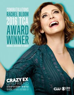 Congratulations to Rachel Bloom on her Television Critics Association award. Watch the entire first season of #CrazyExGirlfriend on Netflix before season two premieres October 21 on The CW!