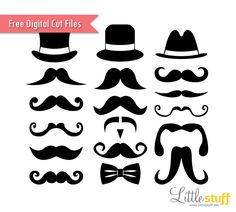 Free Mustaches and Top Hats Digital Cut Files, SVG and Silhouette Studio