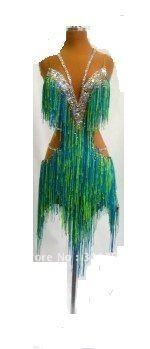 Top sales latin dance dress,ballroom dress,dance wear,DMC stones fringe latin dress -LN1001 US $210.53