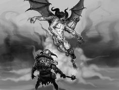 An Orc stands faces the four armed gargoyle