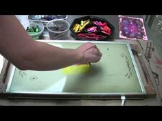 Crayon Monoprint Tutorial--She does this with paper, but you could totally use fabric precuts