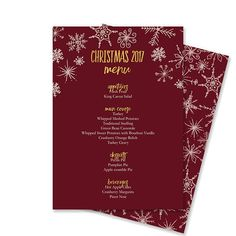 editable christmas menu template snowflakes red and gold