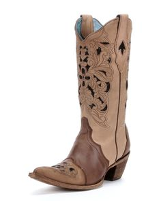 Corral Women's Brown Floral Tool/Black Inlay Boot - C1621