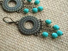 Bohemian Boho Mint Czech Glass Chandlier Bronze by kristibasket, $22.00