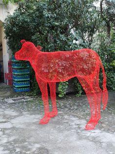 Wire mesh cow by Benedetta Mori-Ubaldini at Rossana Orlandi. #salonedelmobile #milan2012