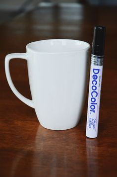 Use a sharpie, put in oven at 350 for 30 min: DIY Quote Mug