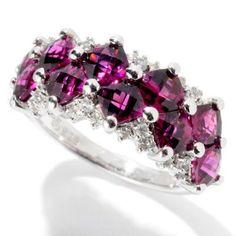 Gem Treasures® Sterling Silver 3.58ctw Garnet & White Sapphire Zigzag Band Ring