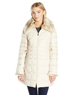 Laundry By Shelli Segal Women's 3/4 Down Quilted Coat with Faux Fur Collar and Cuffs, Pearl, XS