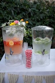 sweet peach tea, strawberry basil lemonade and maybe water with mint and cucumber would be so fun for a backyard bbq wedding. love the triangle flags of sheet music too. Wedding Reception, Our Wedding, Dream Wedding, Reception Food, Wedding Paper, Party Planning, Wedding Planning, Backyard Bbq, Backyard Ideas