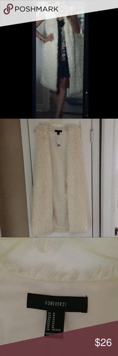 NEW. Cream Furry Midi Vest Adorable and comfy vest brand new! Forever 21 Sweaters