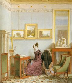 """""""Woman at her Writing Desk,""""1820watercolorby Johann Ender (1793–1854). Museen der Stadt, Vienna. Such an elegant Neoclassical interior!"""