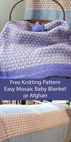 Free Blanket Knitting Pattern Mosaic Baby Blanket or Throw Easy blanket knit with a 3 color slipped stitch colorwork pattern (one color of yarn per row). Options for both a smaller baby's blanket and an adult-sized afghan. The baby blanket has an all over mosaic while the throw has stripes of mosaic. Rated easy by Ravelrers. Worsted weight yarn. Designed by Donna Herron. Chevron Blanket, Blanket Yarn, Knitted Baby Blankets, Baby Knitting Patterns, Free Knitting, Knit And Crochet Now, Easy Mosaic, Aran Weight Yarn, Butterfly Baby