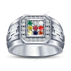 18k White Gold Fn 925 Silver Rd Multi-Stone Birthstone Men's Wedding Band Ring #aonedesigns #NavratnaRing
