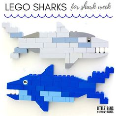 Build one of the ocean's most fascinating creatures! LEGO sharks. Perfect for shark week or any study of the creatures of the sea. LEGO ocean building idea.
