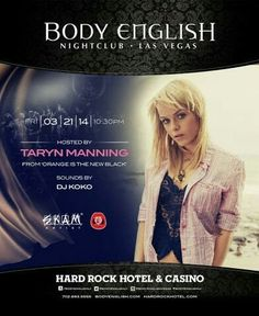 Body English Nightclub Las Vegas with Taryn Manning Friday March 20th. 1.855.CITY-VIP(248-9847) CITY VIP CONCIERGE for Tables, Bottles, Tickets, VIP Services and the very BEST of Any & Everything Fabulous in Las Vegas!!! #BodyEnglishNightclubLasVegas #CityVIPConcierge CLICK HERE FOR TICKETS http://cityvipconcierge.wantickets.com/Events/148378/Body-English-PopLife/