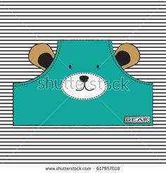 cute teddy bear face, T-shirt graphics for kids vector illustration