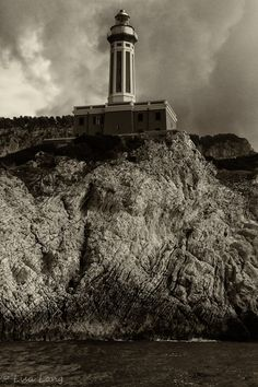 Capri Italy Lighthouse Black and White by LongWorldPhotography, $20.00