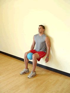 Today's Exercise: Wall Sit with Medicine Ball Squeeze