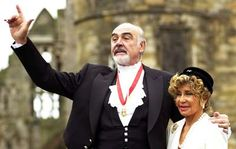 Sean Connery and wife Micheline on the day he was knighted.  Married since 1975 (2nd marriage for him)  38 yrs.