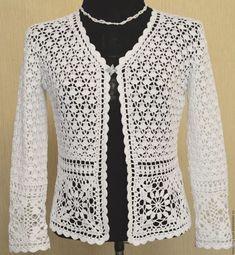 Discover thousands of images about Crochet Summer Jacket Original Designe Irish Lace Beige - CrochetingNeedles. Débardeurs Au Crochet, Crochet Bolero Pattern, Gilet Crochet, Crochet Coat, Crochet Jacket, Freeform Crochet, Crochet Blouse, Crochet Clothes, Crochet Stitches