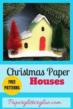 Pattern for Split Level Christmas Putz House for 12 Houses for Christmas Christmas Paper, Little Christmas, Christmas Home, Christmas Holidays, Christmas Crafts, Christmas Ideas, Xmas, Paper Houses, Cardboard Houses