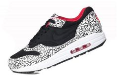 newest b584b 5fd7e Original Nike Air Max 1 Leopard Pack Noir Grise Varsity Rouge Blanche  Chaussures Homme France Sneakers