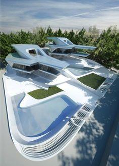 Para este diseño, Zaha Hadid tomó como referencia el terreno montañoso del entorno, que se refleja en una serie de terrazas y rampas que introducen el paisaje en el corazón de las Villas.
