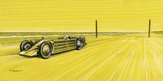 """Irving Napier Golden Arrow - Henry Segrave - Land Speed Record - 231.45 mph - Daytona Beach, Florida, USA - March 11th, 1929   Pen & ink and markers on 16""""x 8"""" yellow archival paper  © Paul Chenard 2017"""