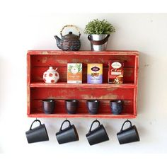 August Grove Belanger Rustic Double Wall Shelf is part of Black Rustic Living Room - Coffee Bar Home, Coffee Corner, Rustic Shelves, Wall Shelves, Small Wall Shelf, Diy Pallet Projects, Wood Projects, Small Furniture, Diy Furniture