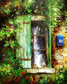Wonderful Paintings by Gleb Goloubetski - AmO Images - AmO Images Stone Painting, House Painting, Art Expo, Caribbean Art, Cottage Art, Impressionist Paintings, Window Art, Art For Art Sake, Russian Art