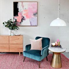 Such a pretty corner - the perfect combination of modern and feminine! The addition of artwork beautifully rounds this space out. Living Spaces, Living Room, Interior Decorating, Interior Design, Dream Decor, Cozy House, Decoration, Bunt, Interior Inspiration