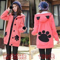 Taobao agent 2013 winter new cartoon dirndl Korea warm hooded student health clothes coat