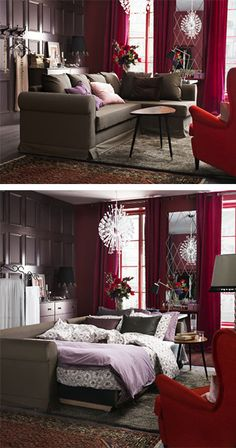 It's not about having a living room or a bedroom. Simply create a comfortable space that works for both relaxing and sleeping! With flexible furniture, you can go from day to night easily.