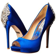 Badgley Mischka Kiara High Heels ($245) ❤ liked on Polyvore featuring shoes, pumps, blue, blue platform shoes, metallic pumps, rhinestone pumps, blue platform pumps and platform shoes