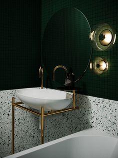 Modern and green designed New York apartment bathroom design sink // cgi visualization from CGI Artist Tamara Batsmanova. Rendering done in Max, Corona Render. Mold In Bathroom, Bathroom Fixtures, Small Bathroom, Master Bathroom, Apartment Bathroom Design, Modern Bathroom Design, Bathroom Interior Design, Terrazo, Suites