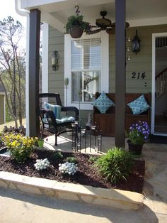 Marvelous Front Porch Designs and Decoration: Extraordinary Minimalist Front Porch Designs With Flower Decoration ~ wiligear.com Decoration Inspiration
