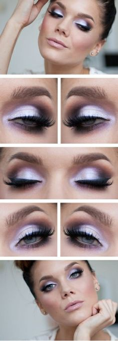 "Today's Look : ""Pink Azalea"" -Linda Hallberg ( a gorgeous eye look that ranges from a white-lavender to a dark purple-violet. I love a color..."