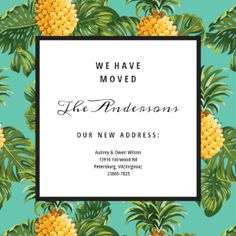 Pineapple Print printable invitation template. Customize, add text and photos.  Print, download, send online or order printed!
