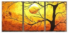 """Tree Oil Painting - Wall art finished in the USA. Dimensions (H x W): 24"""" x 48"""". Hand finished canvas art oil paintings. Gallery wrapped canvas art comes ready to hang."""
