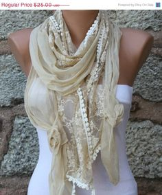 BIG SALE Yellow  Lace Scarf Shawl Scarf -  Cowl - fatwoman bridesmaid gifts