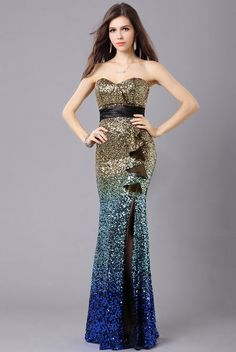 Strapless Sequin Long Prom Dress - http://www.vudress.com/