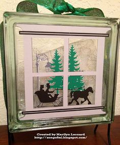 ~ Marilyn's Crafts ~: Glass Block - Sleigh Ride