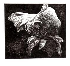 Goldfish Swimming - Original Pen and Ink Drawing