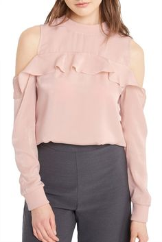 Blush Cold Shoulder Satin Long Sleeve Top