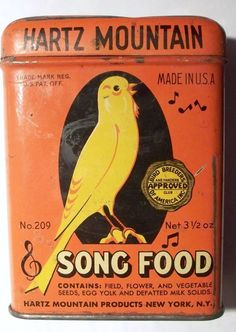 Hartz Mountain parakeet 'Song Food' tin